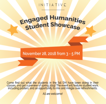 image of the engaged humanities student showcase flyer