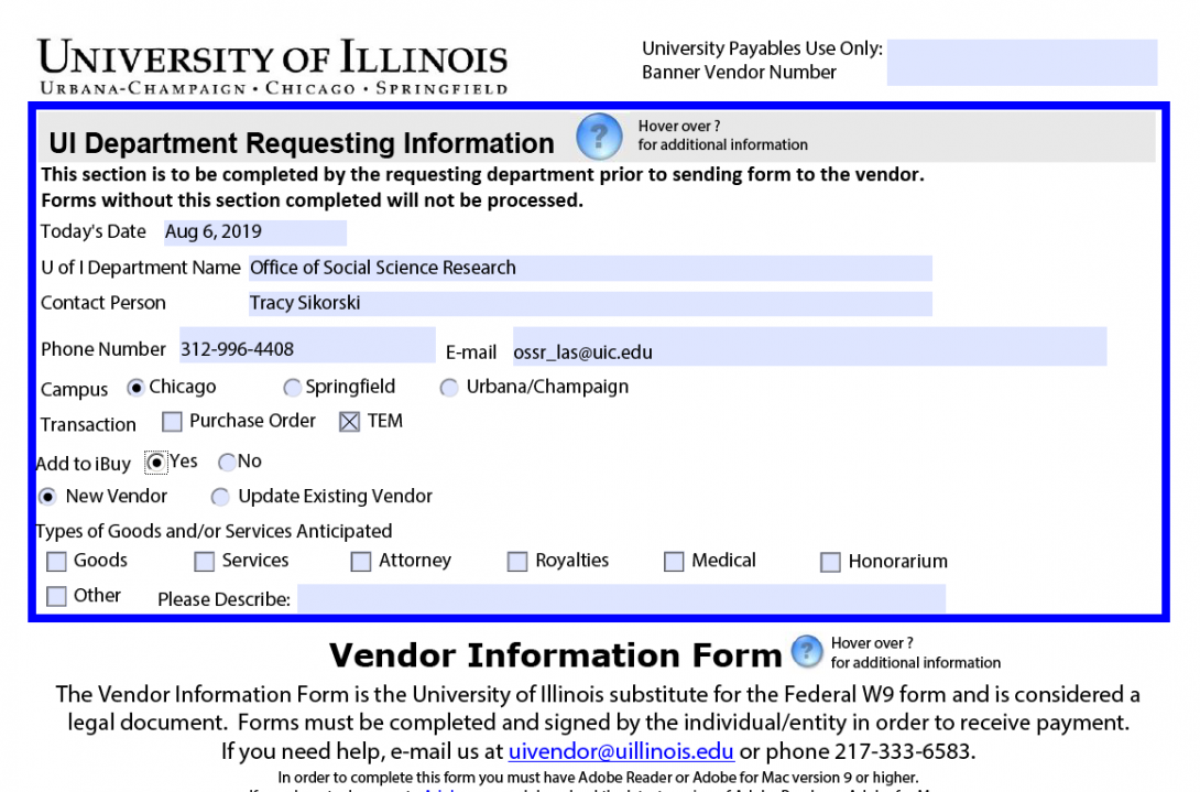Picture of example Vendor Information Form Instructions